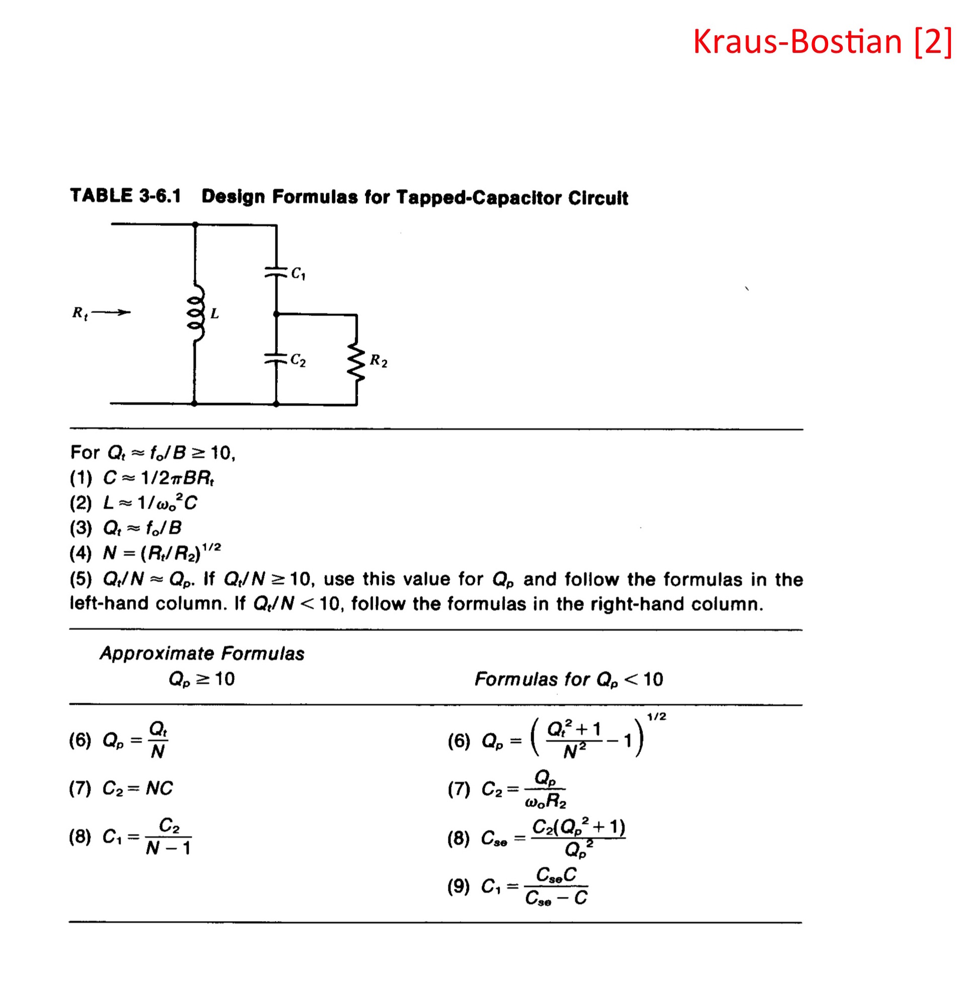 Resonant Coupling Networks Capacitorcircuit Design Formulas For Tapped Capacitor Circuit
